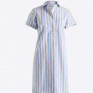 J Crew Striped Linen Shirtdress Women's Size M